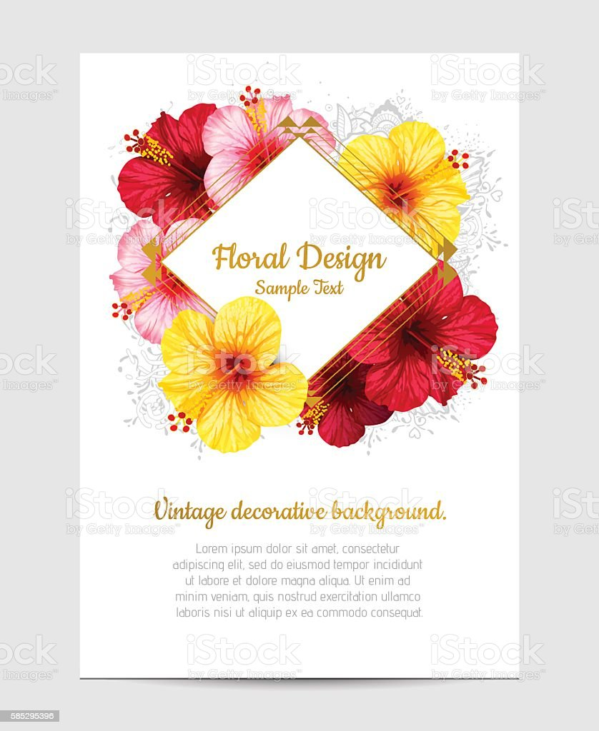 vector hibiscus flower invitation card イラストレーションの