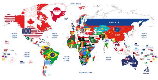 世界地図のベクター高詳細な画像接合された国のフラグ - ドイツの国旗点のイラスト素材/クリップアート素材/マンガ素材/アイコン素材