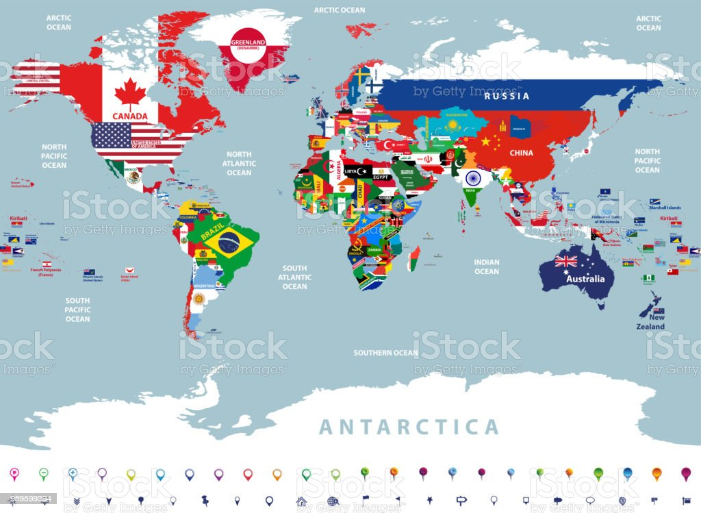 vector high detailed illustration of map of the world jointed with countries flags vector art illustration