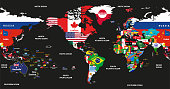 vector high detailed illustration of map of the world jointed with countries flags and centered by America