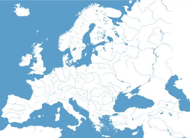 ilustrações de stock, clip art, desenhos animados e ícones de vector high detailed map of european rivers - douro