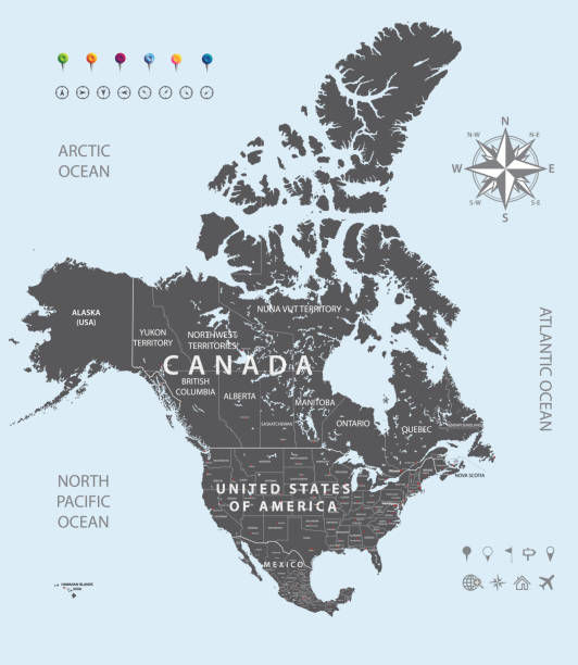 vector high detailed map of North America vector high detailed map of North America quebec stock illustrations
