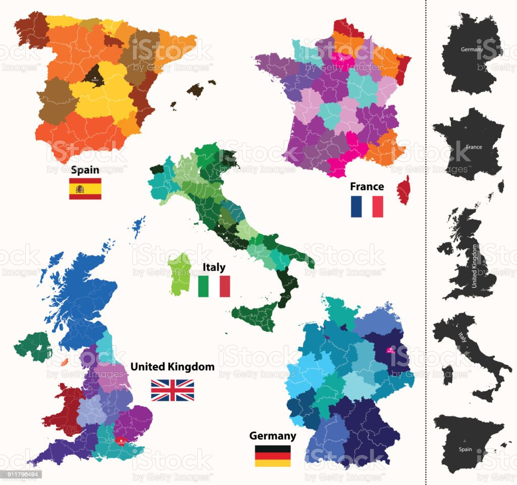 Map Of France Germany.Vector High Detailed Maps And Flags Of United Kingdom Germany France