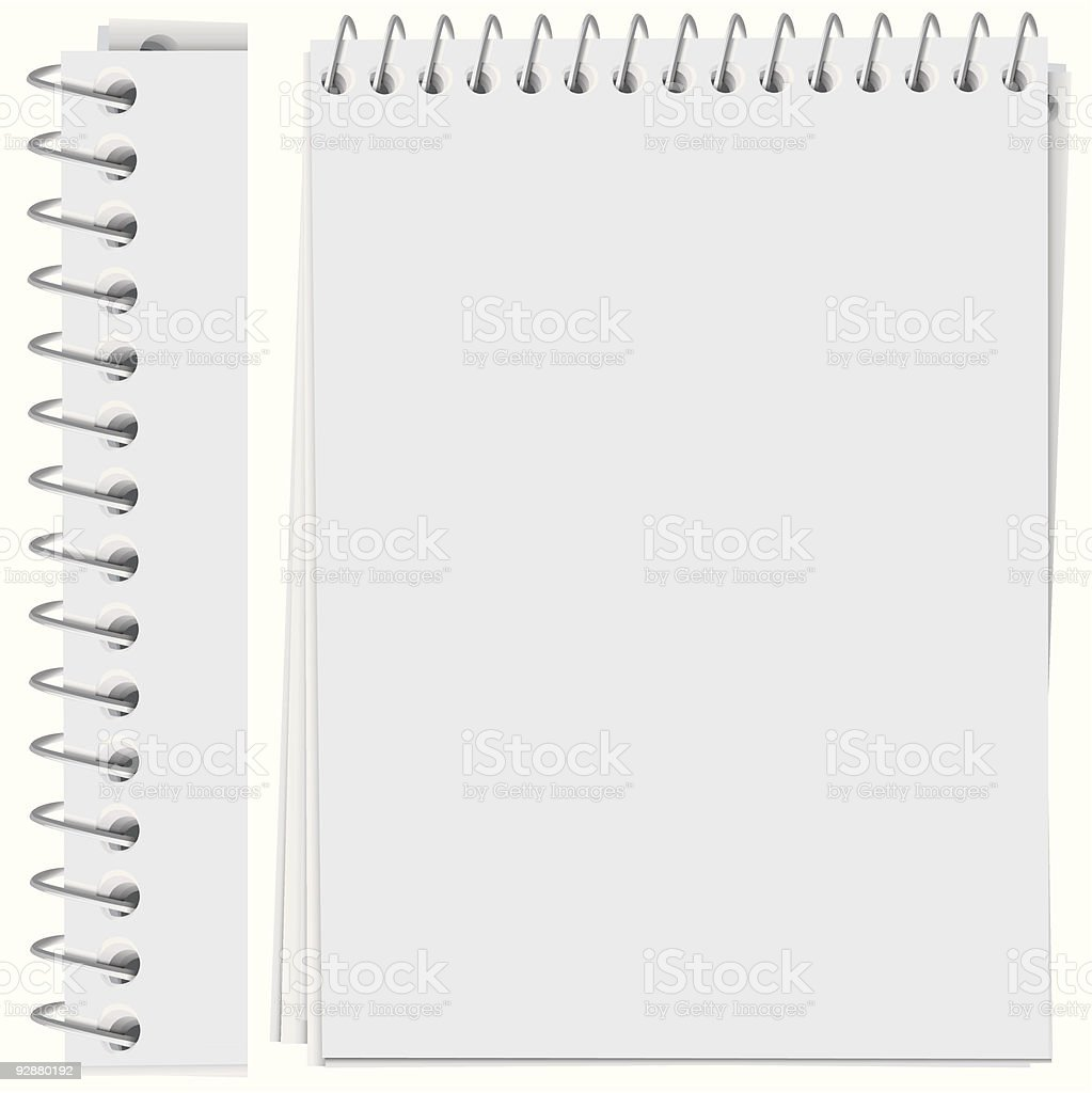 vector high detailed spiral bound notepad page vector art illustration