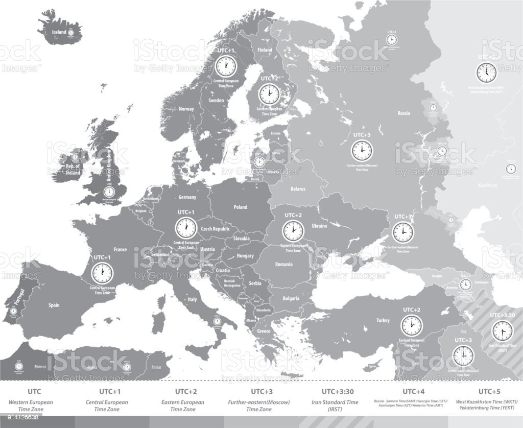Vector High Detailed Time Zones Map Of Europe Stock Vector Art ...