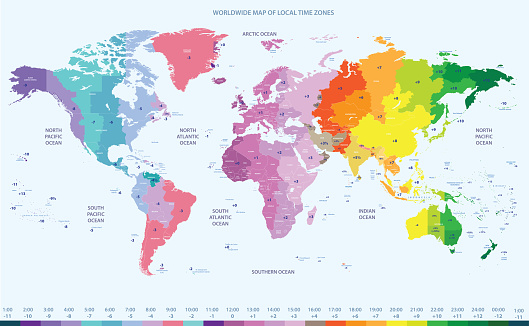 vector high detailed world time zones map