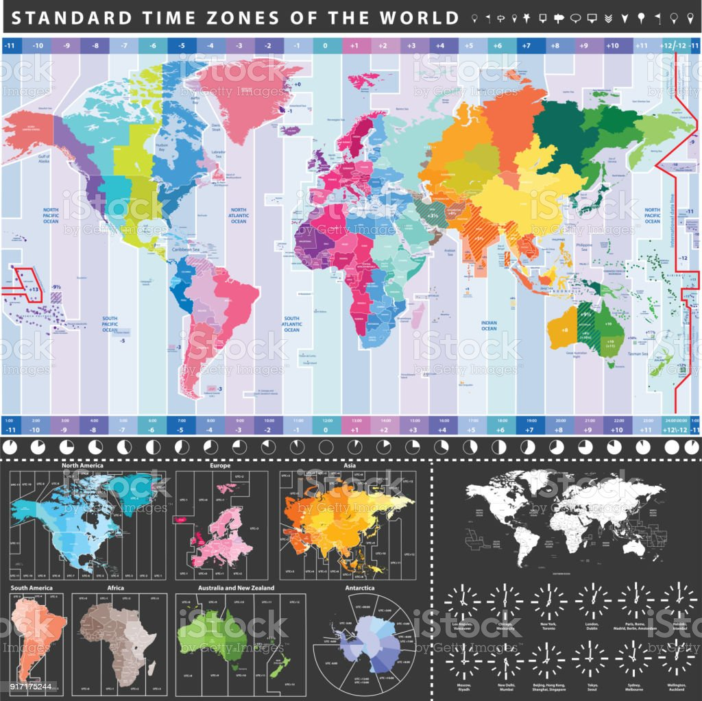 Vector High Detailed World Time Zones Map Stock Vector Art More