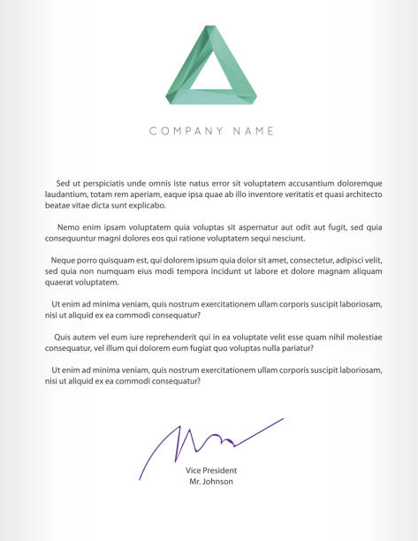 Vector High Quality Illustration in EPS 10 Visual identity with letter elements polygonal style Letterhead and geometric triangular design style brochure cover template mockups for business with Fictitious name letterhead stock illustrations