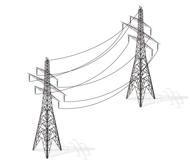 Vector high voltage pylons on white background, isometric 3d perspective. Vector high voltage pylons on white background in isometric perspective. 3d metal pole voltage, isolated background. Industrial illustration. Power line pylons with safety lock. Power plant equipment. electricity pylon stock illustrations