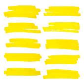 istock Vector highlighter brush lines. Marker pen highlight underline strokes. Yellow watercolor hand drawn highlight set. 857396878