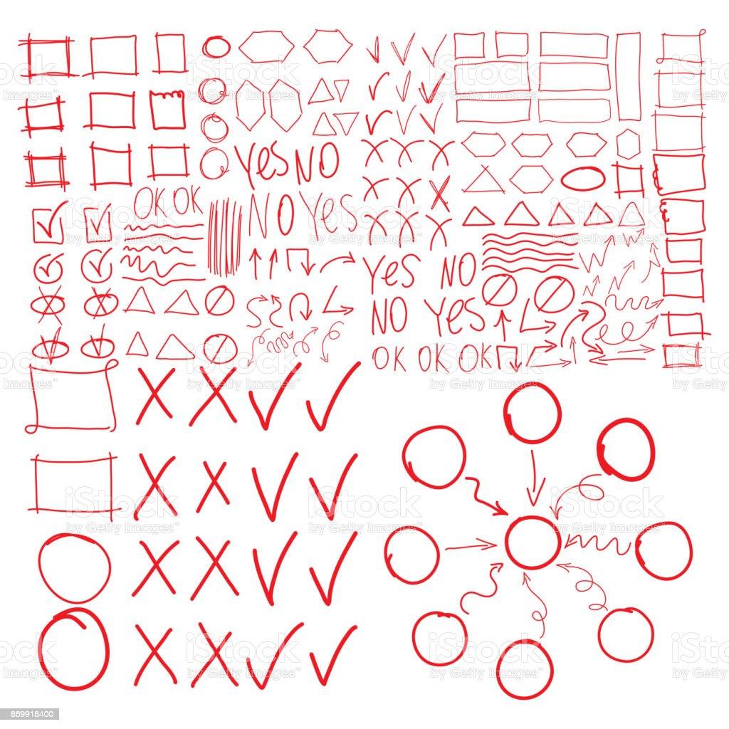 Textmarker Vektorelemente Nachahmung Der Handzeichnung Kreise Rahmen ...