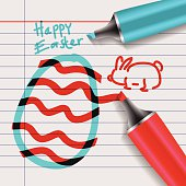 Vector highlighter Concept Paper Background. Blue red Happy easter. Eps. 10