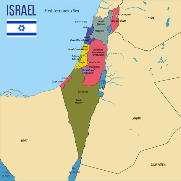sehr detaillierte politische vektorkarte von israel - haifa stock-grafiken, -clipart, -cartoons und -symbole