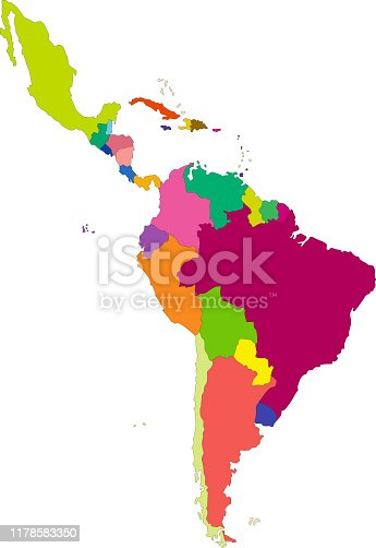 Vector highly detailed political map of Latin America and their capitals. All elements are separated in editable layers clearly labeled. EPS 10