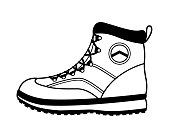 Vector hiking boot icon in black and white