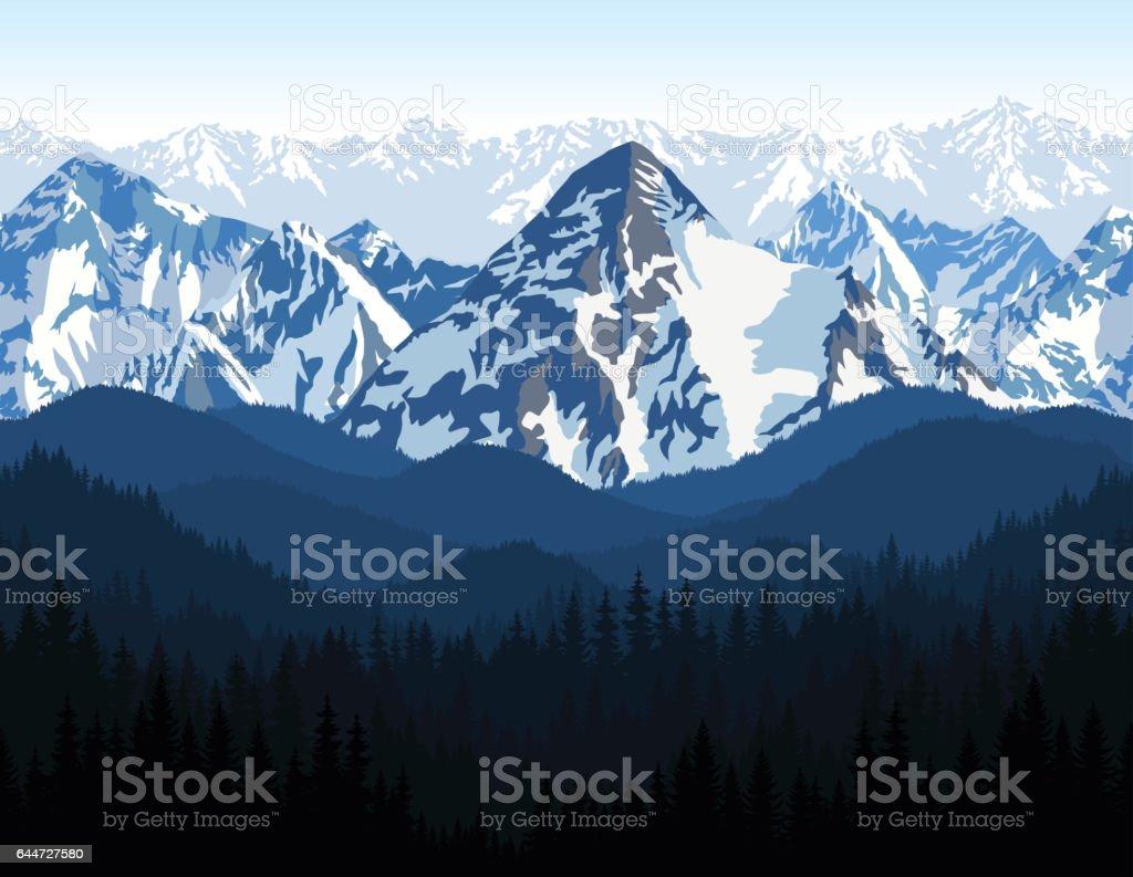 vector Himalaya alps morning mountains background texture seamless pattern. vector art illustration