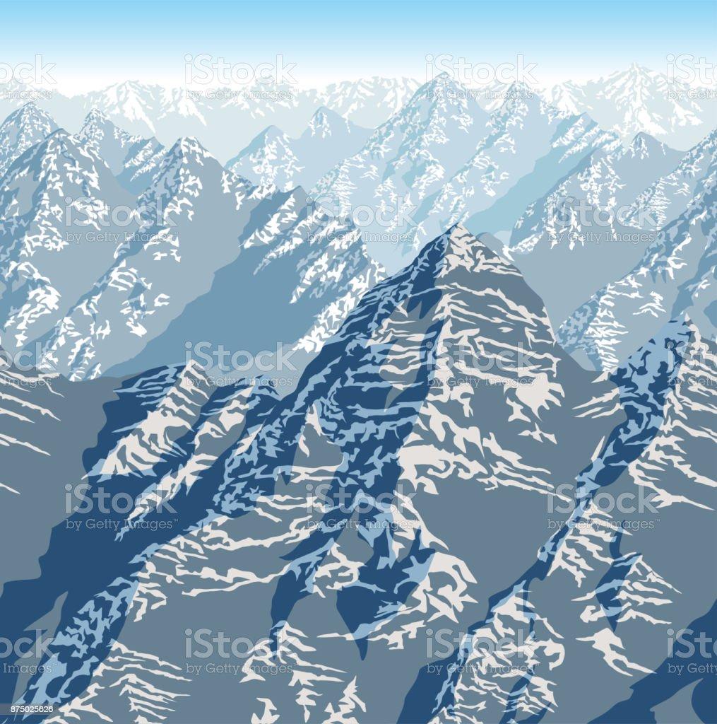 Himalaya Berge Karte.Vektorhimalaya Alpen Berge Hintergrund Textur Nahtlose