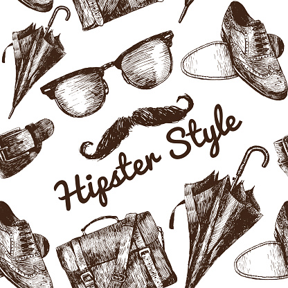 Vector Hipster Style Set 2. Hipster accessories in retro sepia style on white background. Seamless pattern.