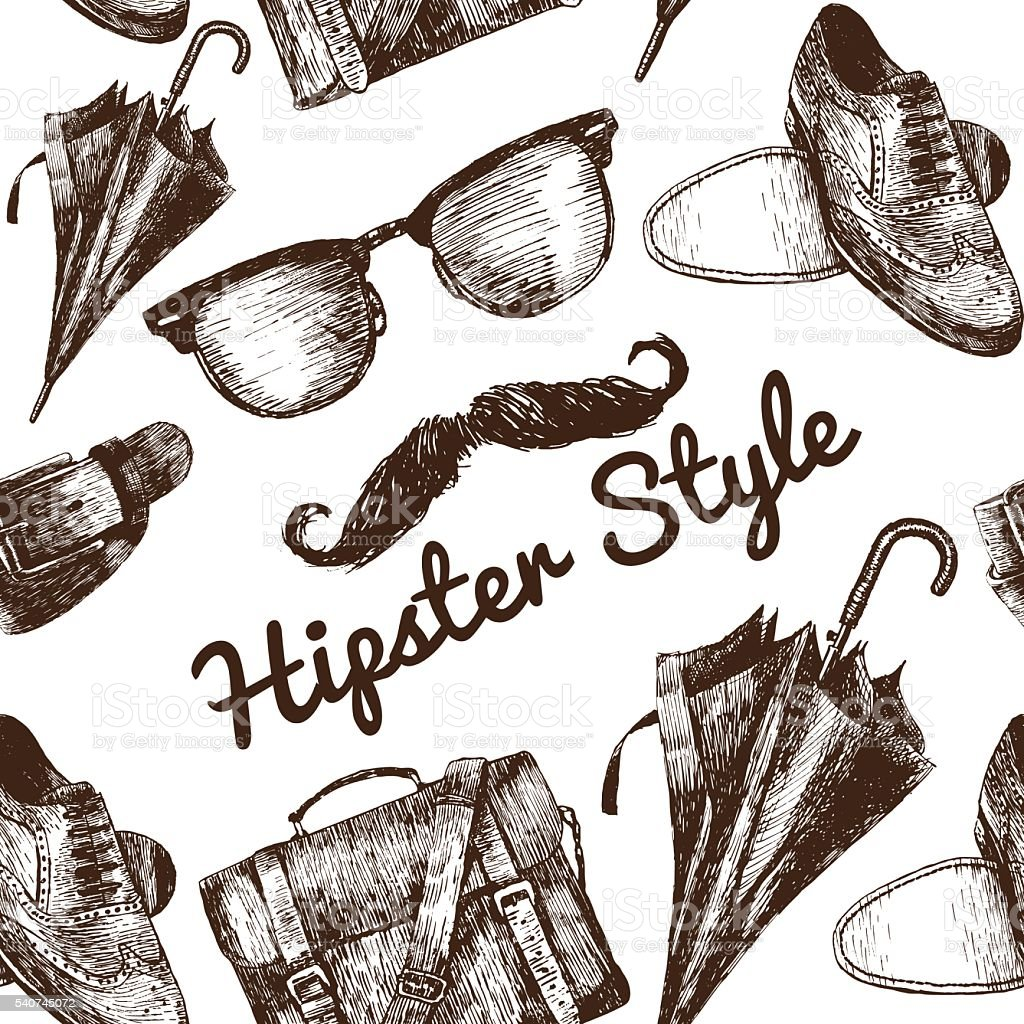 Vector hipster accessories in retro sepia style on seamless pattern vector art illustration
