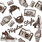 Vector Hipster Style Set 1. Hipster accessories in retro sepia style on white background. Seamless pattern.