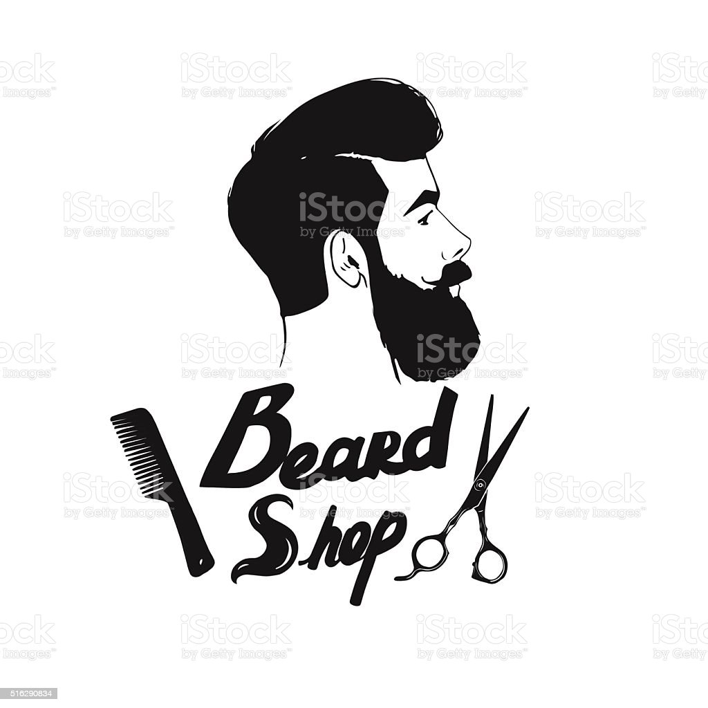 Vector Hipster Barber Shop Logo Stock Vector Art & More ...