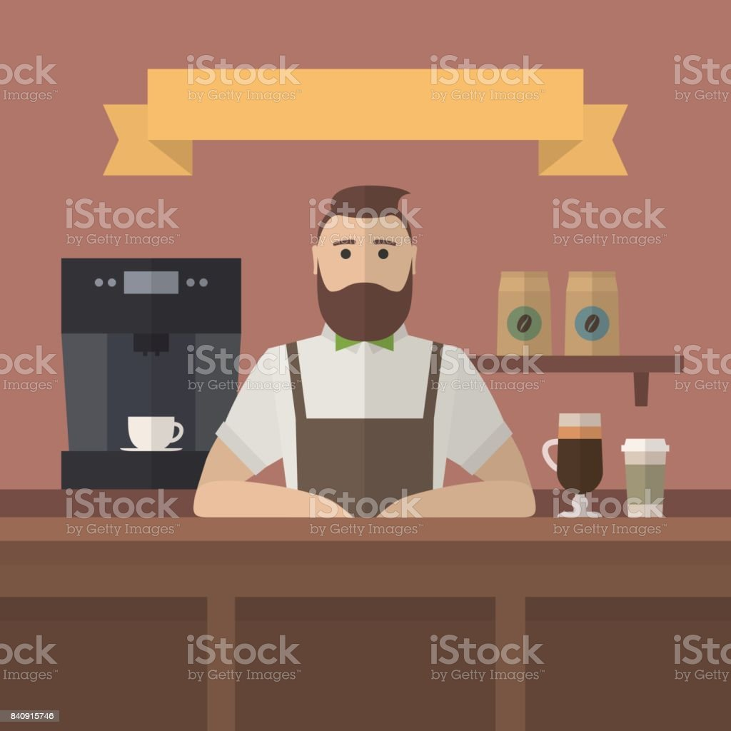 Vector hipster barista. vector art illustration