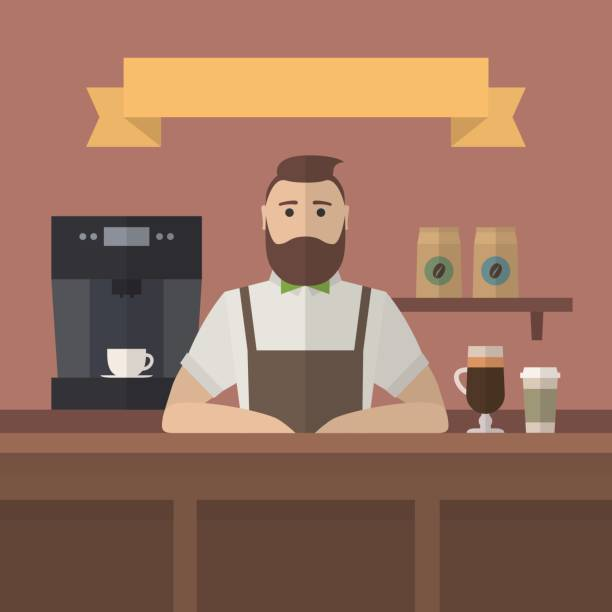 vector hipster barista. - barista stock illustrations, clip art, cartoons, & icons