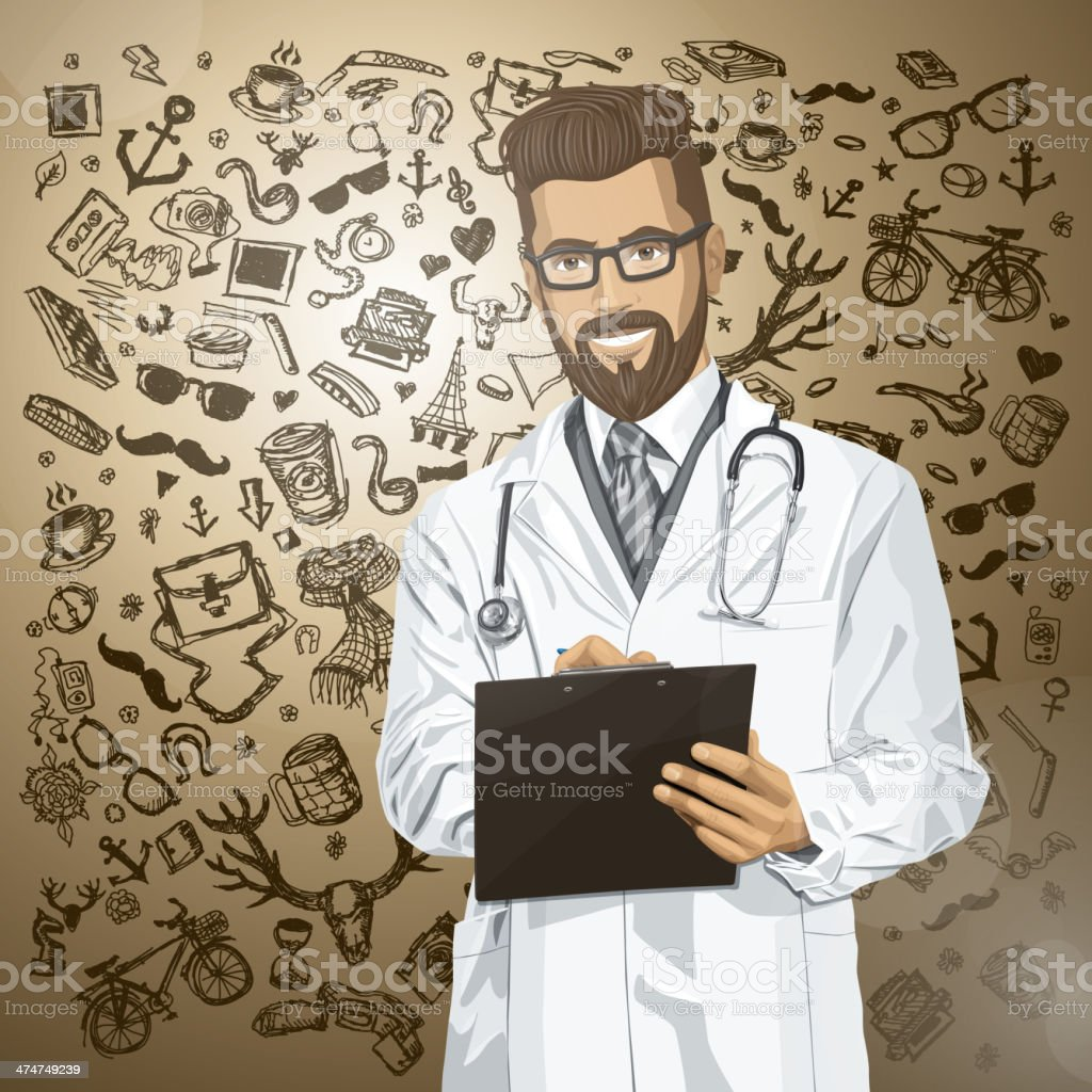 Vector Hipster Doctor Man With Clipboard royalty-free vector hipster doctor man with clipboard stock vector art & more images of adult