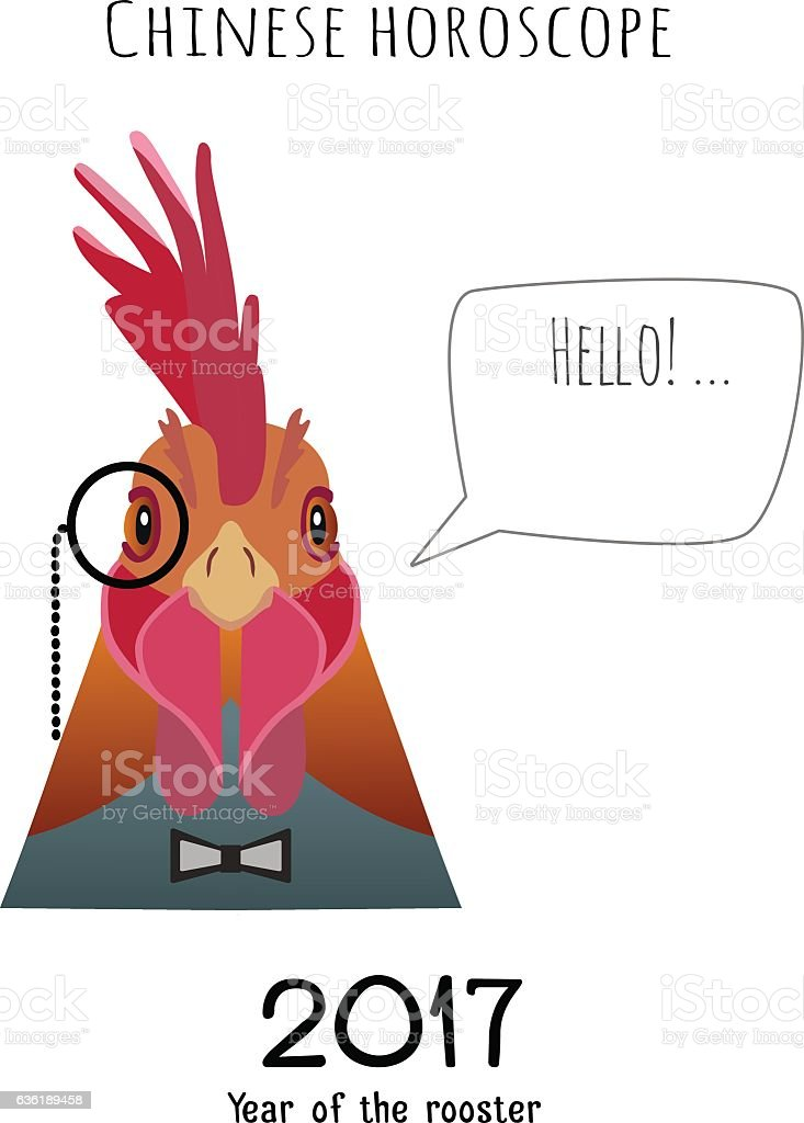vector hipster flat rooster wearing black bowtie monocle saying