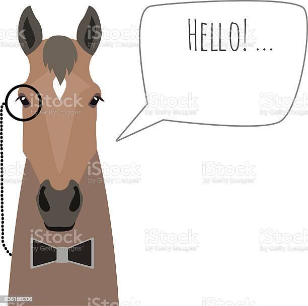 Vector hipster horse wearing black bowtie and monocle saying hello vector id636188206?b=1&k=6&m=636188206&s=612x612&h=cwp355zlorqfpkigruyzycgskaeu4bzfmkko8otjm4k=