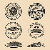 Vector vintage hipster italian food images. Modern pasta and pizza signs or emblems. Hand drawn mediterranean cuisine illustrations. Traditional southern europe meal sketches in ink style.