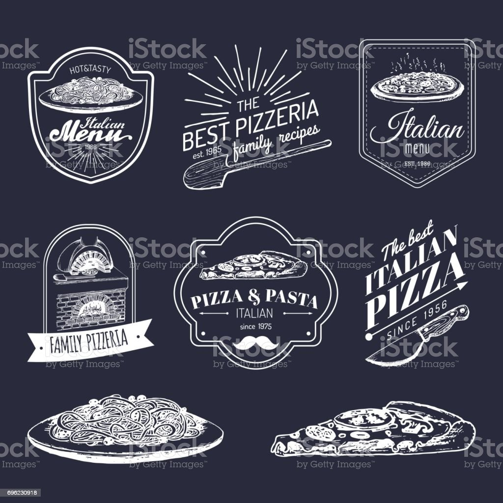 Vector hipster italian food images. Modern pasta and pizza signs etc. Hand drawn mediterranean cuisine illustrations. vector art illustration