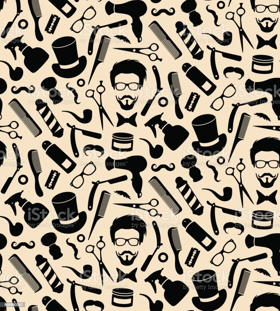 Vector Hipster Seamless Pattern Of Barbershop Icons With