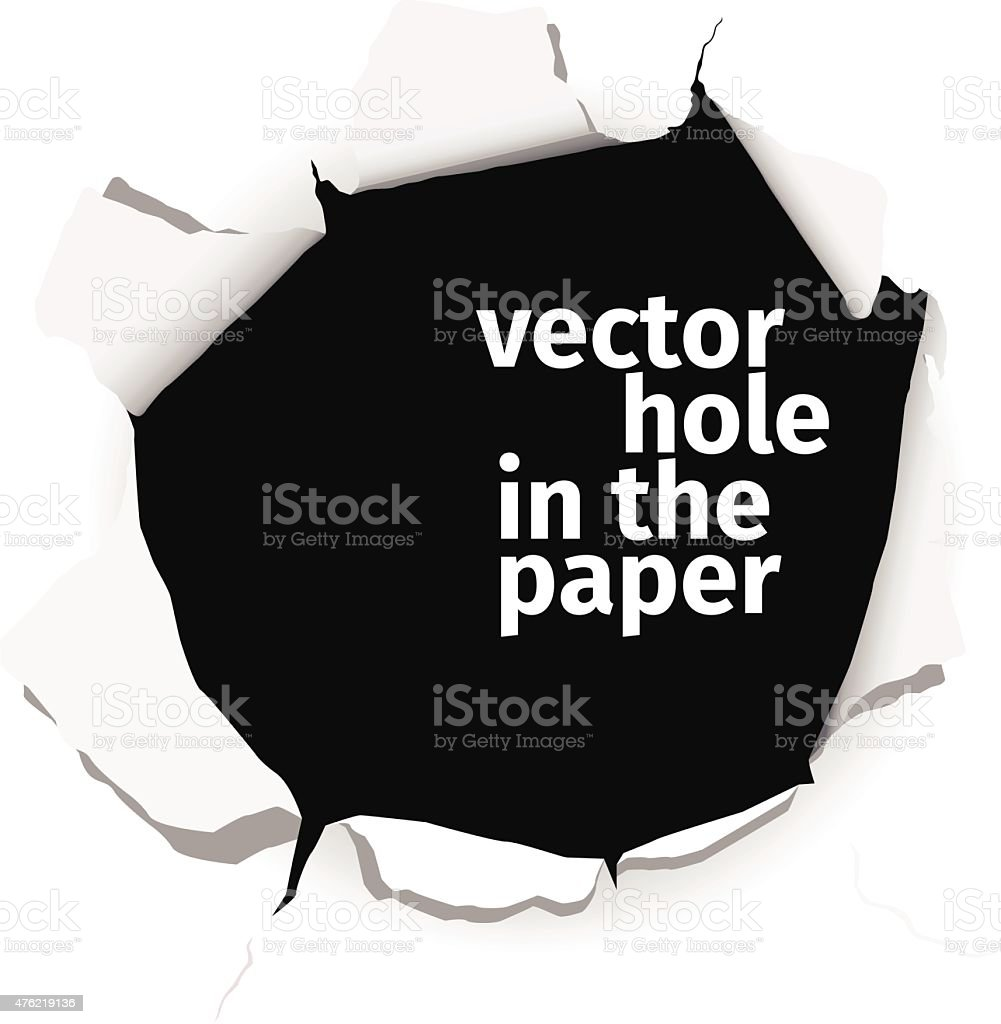 Vector hole in the paper isolated on white background vector art illustration