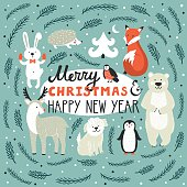 Vector holiday background with cute animals. Christmas card.