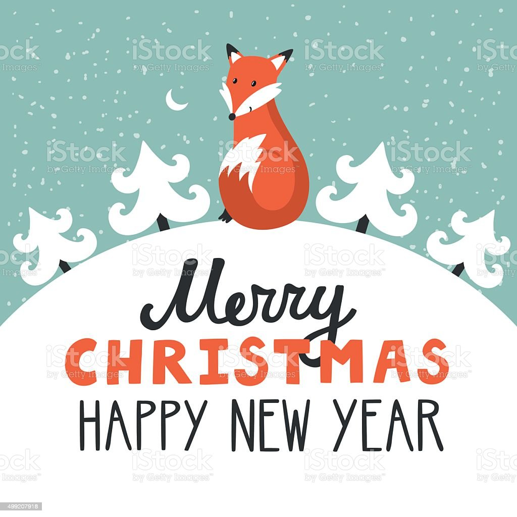 Vector holiday background with cute fox, vector art illustration