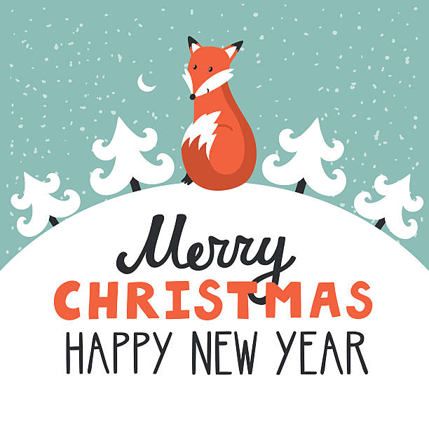 vector holiday background with cute fox, - wildlife calendar stock illustrations, clip art, cartoons, & icons