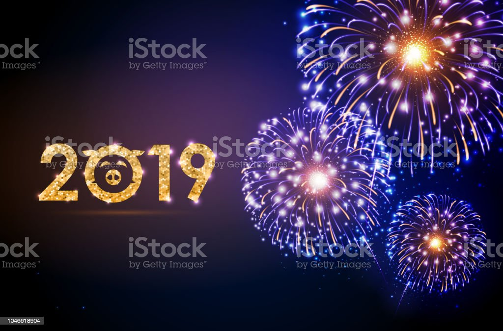 vector holiday festival golden firework happy new year card 2019 royalty free vector holiday