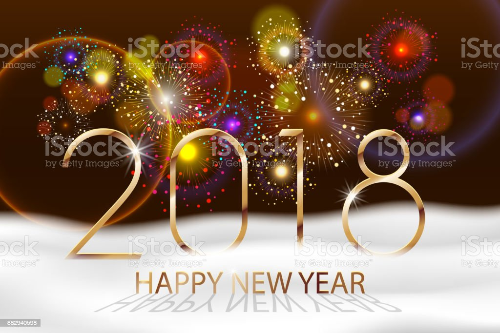 vector holiday fireworks background happy new year 2018 seasons greetings colorful fireworks design