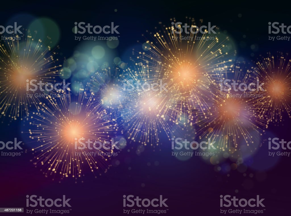 Vector Holiday Fireworks Background vector art illustration