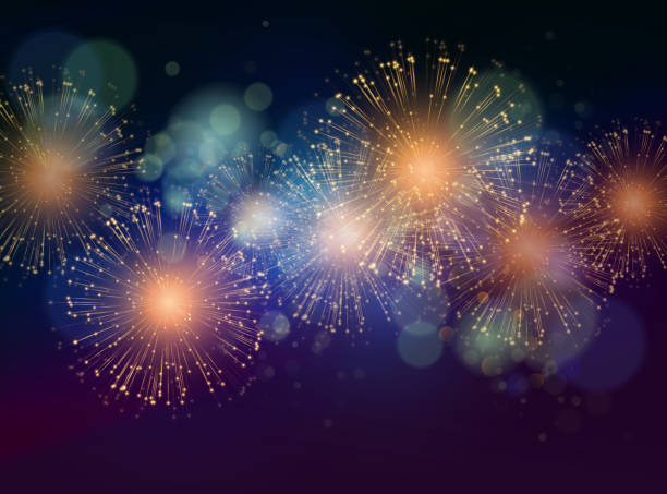 Vector Holiday Fireworks Background Vector Holiday Fireworks Background. Happy New Year 2016 fireworks stock illustrations
