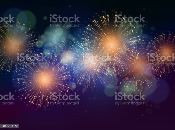 Vector Holiday Fireworks Background Stock Illustration - Download Image Now