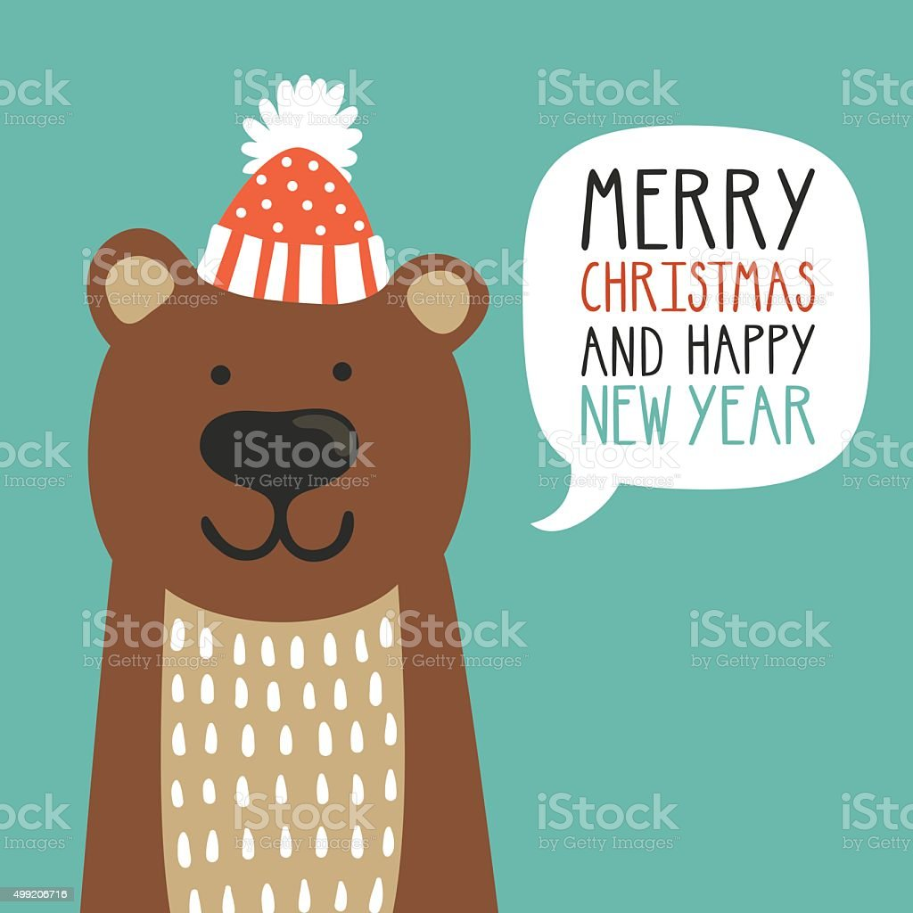 Vector holiday illustration of a cute bear in a hat. vector art illustration