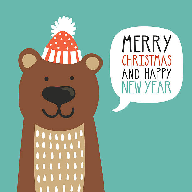 vector holiday illustration of a cute bear in a hat. - wildlife calendar stock illustrations, clip art, cartoons, & icons