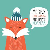 Vector holiday illustration of a cute fox in a hat.