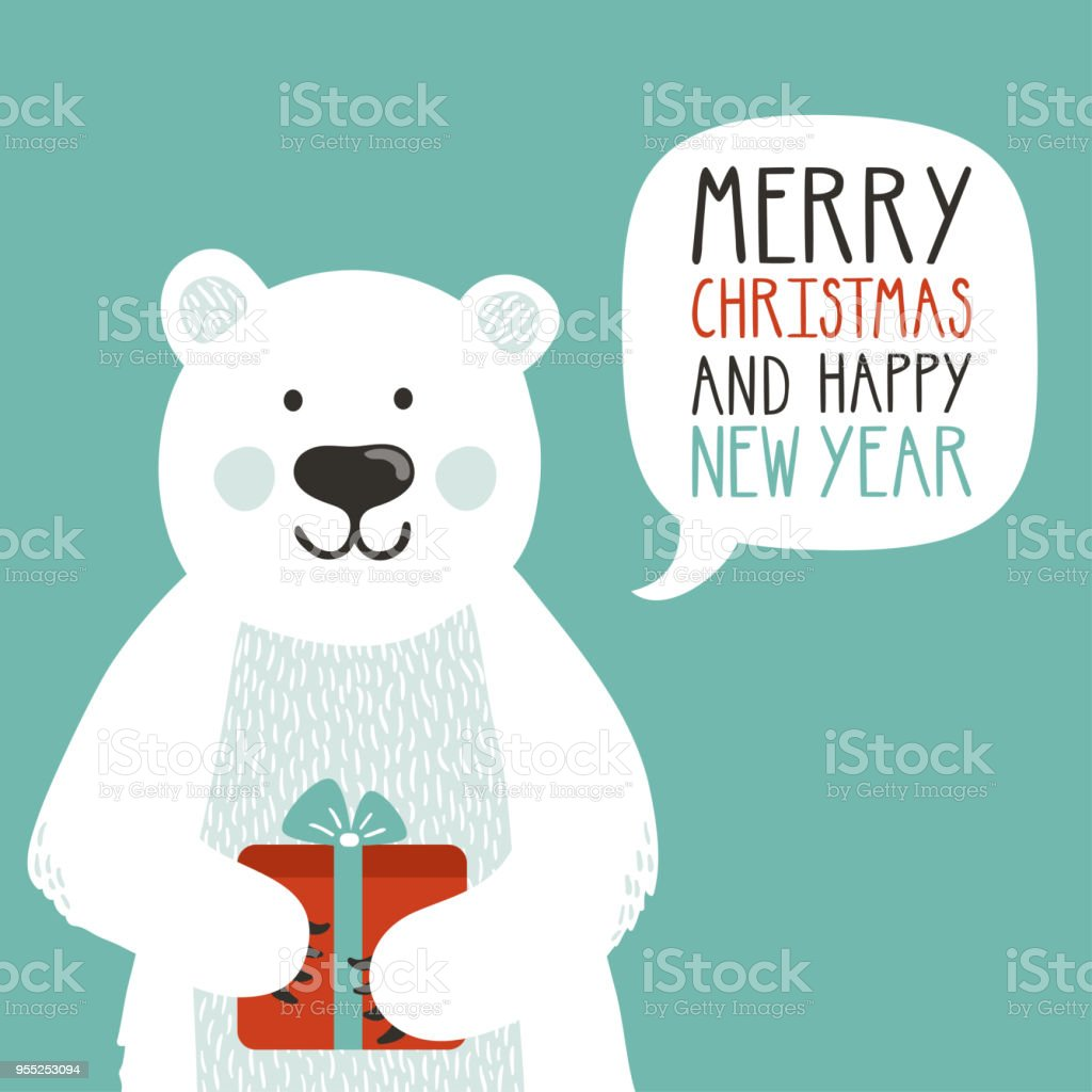 vector holiday illustration of a cute polar bear with gift box saying merry christmas and