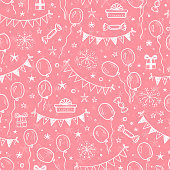 Vector Holiday or Birthday Seamless pattern. Hand Drawn Doodle Balloons, Buntings Flags, Gift Boxes and Stars. Black and White Festive Background. Holiday Wallpaper
