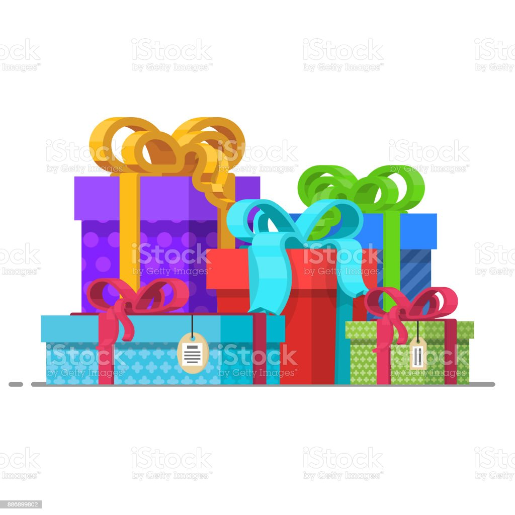 Vector holiday present colored gift boxes packaging pile flat vector holiday present colored gift boxes packaging pile flat cartoon isolated illustration on a negle Gallery