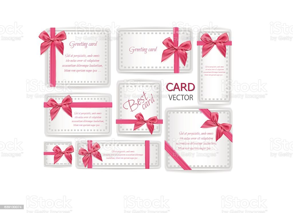 Vector set of holiday present gift packaging . pink silk ribbon with...