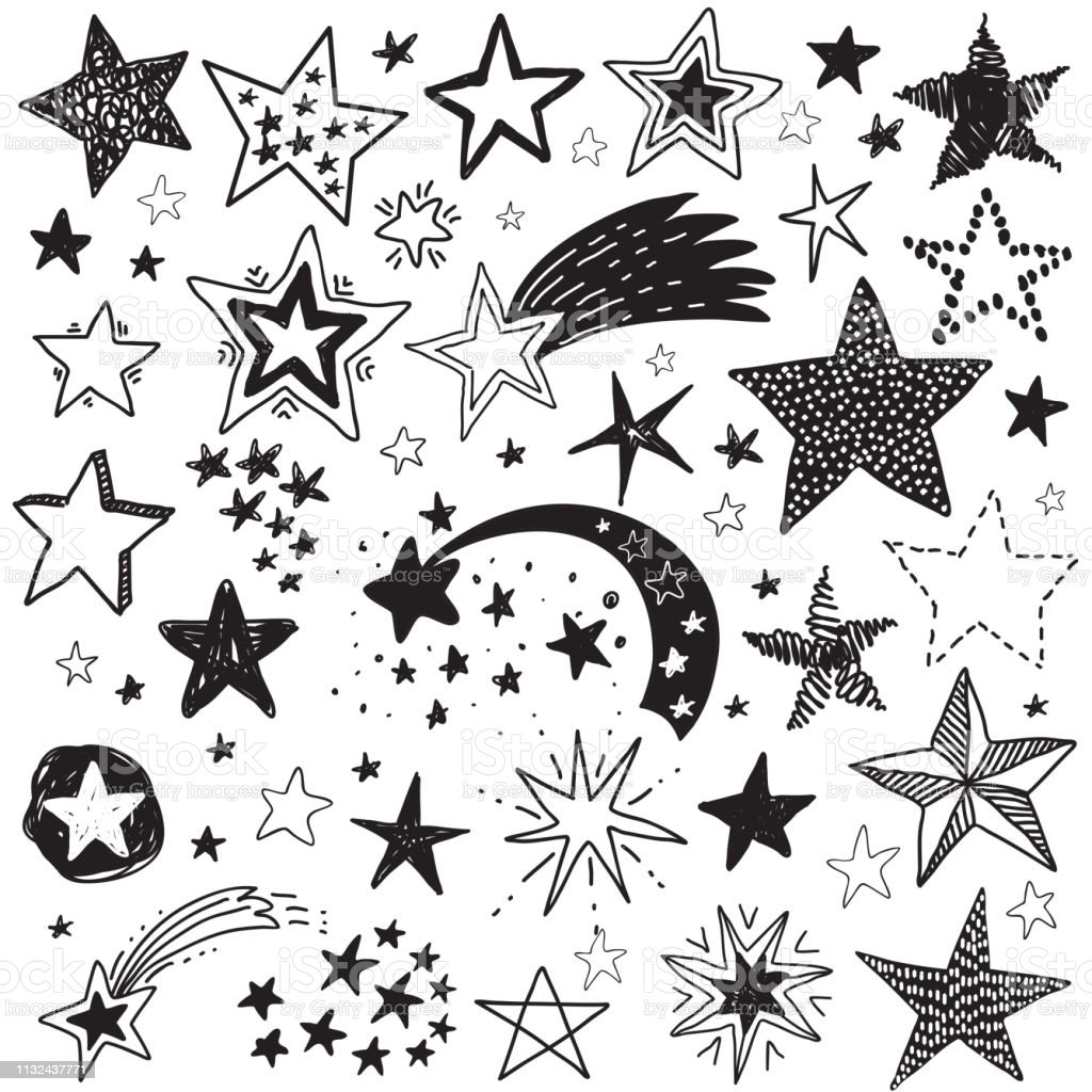 Vector holiday set of hand drawn stars festive black and